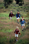 Family of five hiking trail enjoying a nature experience, Moraine Park, Rocky Mtn Nat'l Park, CO