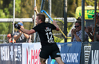 Sam Lane celebrates a goal during the Olympic Qualifying Hockey match between the Blacksticks Men and Korea, TET Multisport Centre, Stratford, New Zealand. Sunday 3 November 2019. Photo: Simon Watts/www.bwmedia.co.nz/HockeyNZ