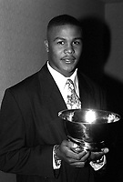 Andruw Jones of the Atlanta Braves receives Baseball America's Minor League Player of the Year award for 1995 at the Biltmore Hotel in Los Angeles,California.(Larry Goren/Four Seam Images)
