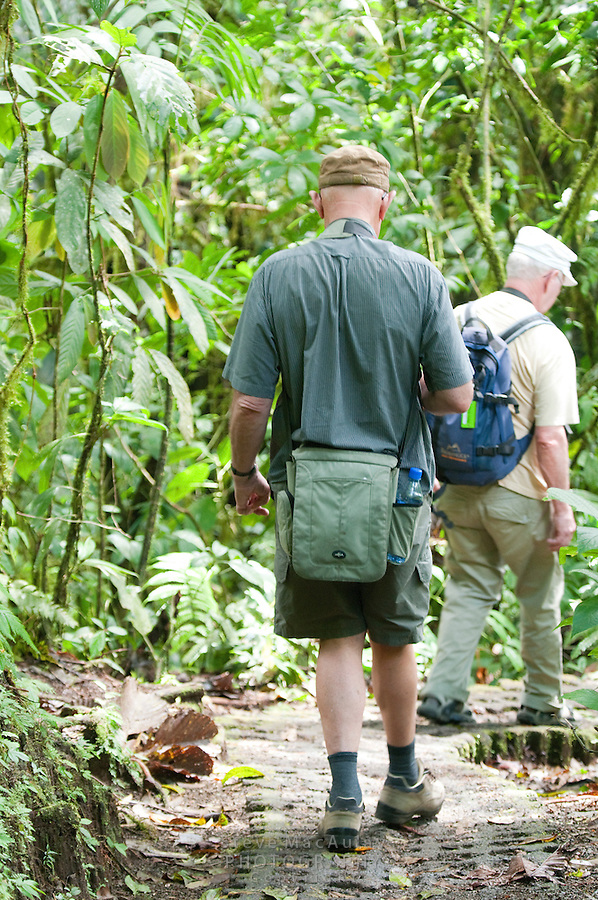 Two senior men hiking the trail through the forest, Arenal Hanging Bridges, Costa Rica