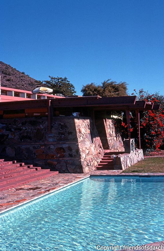 F.L. Wright: Taliesin West. Pool near terrace.  Photo '77.