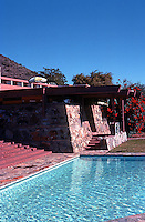 F.L. Wright: Taliesin West. Pool near terrace.  Photo '77.