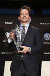 05 December 2013: Mike Magee poses with the MLS MVP Trophy. Major League Soccer held a press conference announcing Mike Magee, of the Chicago Fire as the winner of the 2013 MLS Most Valuable Player award at the Three Points Club in Kansas City, Missouri.