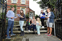 Pictured L-R: Students Jake Lomas, Freya Koutsoubelis, Holly Dickens, Katie Watkins, Celia Crees, Kia Warlow and Ben Francis.<br />