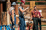 ALASKA, Ketchikan, a group of men compete during the Great Alaskan Lumberjack Show
