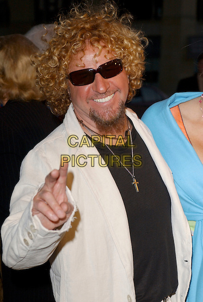 "SAMMY HAGAR .Attends Paramount Pictures' Los Angeles Premiere of ""Sahara"" held at The Grauman's Chinese Theatre in Hollywood, Los Angeles, California, USA,.April 4th 2005..portrait headshot sunglasses peace sign gesture funny dark glasses shades.Ref: DVS.www.capitalpictures.com.sales@capitalpictures.com.©Debbie VanStory/Capital Pictures"