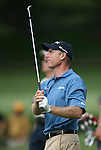 6 September 2008:   Jim Furyk watches his ball in the third round of play at the BMW Golf Championship at Bellerive Country Club in Town & Country, Missouri, a suburb of St. Louis, Missouri. Furyk was the leader after the conclusion of round two with a score of 62.  After the first nine holes of the 18-hole third round, Furyk was 11 under-par.  The BMW Championship is the third event of the Fed Ex Cup and the top 30 finishers will qualify for the next event of the championship.