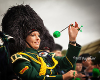 A drummer enjoys the party atmosphere at Braemar Gathering