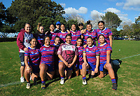 The Richmond team pose for a group photo before the Auckland Rugby League Girls Pilot under-17 match between Otara Scorpions and Richmond at Ngati Otara Park in Auckland, New Zealand on Saturday, 9 June 2018. Photo: Dave Lintott / lintottphoto.co.nz