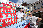 Redrow Homes Meet The Neighbours event at Parc Heol Gerrig, Merthyr Tydfil..Colin Lloyd from Merthyr enjoys an ice cream in the sunshine courtesy of Sean Laverick..25.05.13.©Steve Pope