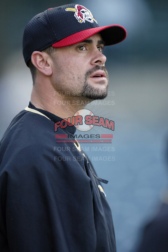 Jason Kendall of the Pittsburgh Pirates before a 2002 MLB season game against the Los Angeles Angels at Angel Stadium, in Anaheim, California. (Larry Goren/Four Seam Images)