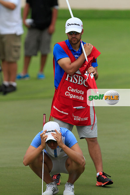 Carlota Ciganda (ESP) on the 18th green during Round 2 of the HSBC Women's Champions at the Sentosa Golf Club, The Serapong Course in Singapore on Friday 6th March 2015.<br /> Picture:  Thos Caffrey / www.golffile.ie