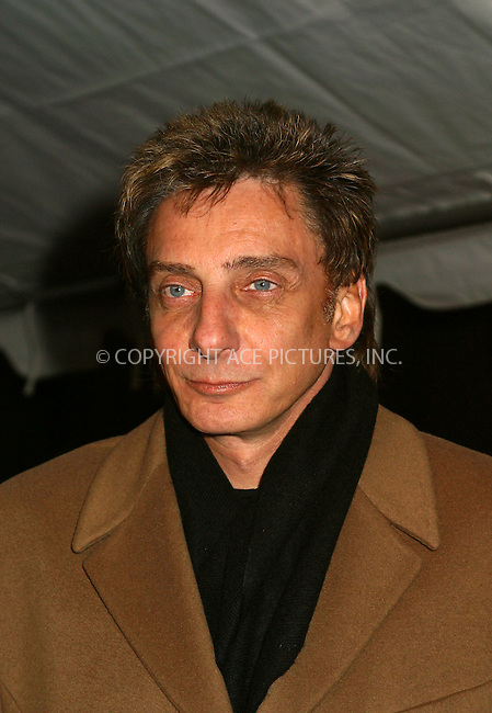 "Singer Barry Manilow arrives at the special gala performance of ""La Boheme's"" to benefit Robin Hood Foundation, the charity organization commited to fighting poverty in New York City. New York, December 3, 2002. Please byline: Alecsey Boldeskul/NY Photo Press.   ..*PAY-PER-USE*      ....NY Photo Press:  ..phone (646) 267-6913;   ..e-mail: info@nyphotopress.com"