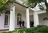 President Barack Obama (L) talks with Denmark Prime Minister Lars Lokke Rasmussen as other leaders of Nordic countries follow behind as they walk to the Oval Office for a meeting at the White House in Washington, D.C. on May 13, 2016. President Obama welcomed Prime Minister Rasmussen as well Iceland Prime Minister Sigurdur Ingi Johannsson, Denmark Prime Minister Lars Lokke Rasmussen, Norway Prime Minister Erna Solberg, Sweden Prime Minister Stefan Lofven and Finland President Sauli Niinisto to the White House to discuss economic, environmental and security concerns in the Nordic region. <br /> Credit: Kevin Dietsch / Pool via CNP