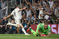 Uefa Champions League football match Real Madrid vs AS Roma at the Santiago Bernabeu stadium in Madrid on September 19, 2018.<br />  <br /> Bale celebrates after scoring