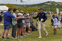 Matt Kuchar (USA) fist bumps a fan on his way to the tee on 12 during day 4 of the WGC Dell Match Play, at the Austin Country Club, Austin, Texas, USA. 3/30/2019.<br /> Picture: Golffile | Ken Murray<br /> <br /> <br /> All photo usage must carry mandatory copyright credit (© Golffile | Ken Murray)