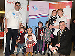 Kevin, Sarah and Grace Hampson, Fiona, Emmet, Caomhin and Kate McShane and Pat Clarke of Down Syndrome Ireland Louth-Meath Branch at the Launch of the 2014 Boyne 10K Run at the Laurence Centre.  Photo:Colin Bell/pressphotos.ie