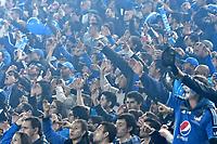 BOGOTA - COLOMBIA - 13 – 12 - 2017: Hinchas de Millonarios animan a su equipo durante partido de ida de la final entre Millonarios y el Independiente Santa Fe, por la Liga Aguila II-2017, jugado en el estadio Nemesio Camacho El Campin de la ciudad de Bogota. / Fans of Millonarios cheer for their team during a match of the first leg of the final between Millonarios and Independiente Santa Fe, for the Liga Aguila II-2017 played at the Nemesio Camacho El Campin Stadium in Bogota city, Photo: VizzorImage / Luis Ramirez / Staff.