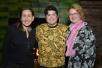 """NEW YORK - MARCH 19: (L-R) Actors Gloria Lain, Harvey Guillen and Marceline Hugot attend the party at the Bowery Hotel Terrace following the premiere for FX Networks """"What We Do In The Shadows"""" on March 19, 2019 in New York City. (Photo by Anthony Behar/FX/PictureGroup)"""