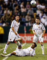 LA Galaxy players Omar Gonzalez (l), .J. DeLagarza (ground) and Dema Kovalenko (r) ball watching. Real Salt Lake defeated the LA Galaxy 2-0 at Home Depot Center stadium in Carson, California on Saturday June 13, 2009.   .