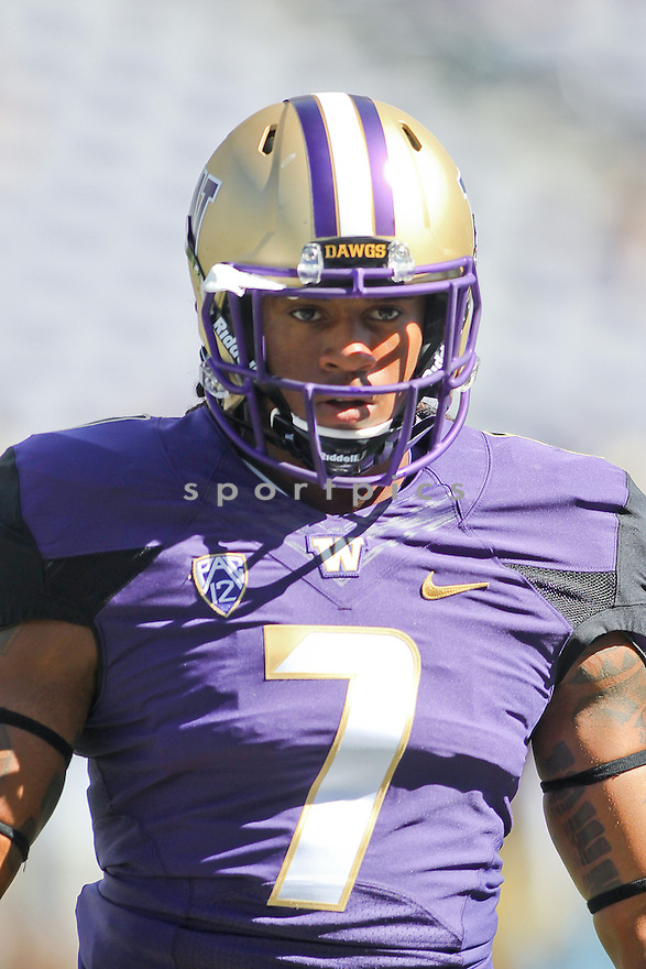 Washington Huskies Shaq Thompson (7) during a game against the Eastern Washington Eagles on September 6, 2014 at Husky Stadium in Seattle, WA. Washington beat East Washington 59-52.