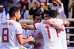 Sardar Azmoun of Iran (R) celebrates scoring the team's first goal with teammates during the AFC Asian Cup UAE 2019 Group D match between Vietnam (VIE) and I.R. Iran (IRN) at Al Nahyan Stadium on 12 January 2019 in Abu Dhabi, United Arab Emirates. Photo by Marcio Rodrigo Machado / Power Sport Images