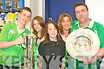 IRISH PRIDE: The Russell Family from Asdee holding the Pride of Ireland the Grand Slam and Treble Crown trophies at O2 shop in the Square, Tralee on Sunday l-r: Darren, Emma, Laura, Helen and John Russell.