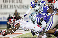 NWA Democrat-Gazette/JASON IVESTER <br /> Arkansas vs Kansas St, Liberty Bowl<br /> Arkansas running back Alex Collins (3) stretches the ball into the end zone for a score during the fourth quarter on Saturday, Jan. 2, 2016, at the Liberty Bowl in Memphis, Tenn.