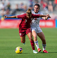 FRISCO, TX - MARCH 11: Nikita Parris #7 of England is defended by Mariona #8 of Spain during a game between England and Spain at Toyota Stadium on March 11, 2020 in Frisco, Texas.
