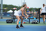 Emily Smith of the Vanderbilt Commodores during the match at #2 doubles against the Georgia Tech Yellow Jackets during the semifinals at the 2018 NCAA Women's Tennis Championship at the Wake Forest Tennis Center on May 21, 2018 in Winston-Salem, North Carolina. The Commodores defeated the Yellow Jackets 4-2. (Brian Westerholt/Sports On Film)