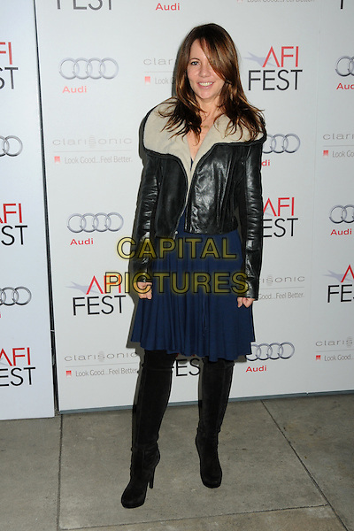 "LESLIE URDANG, Producer.AFI Fest 2010 Screening of ""Rabbit Hole"" held at The Egyptian Theatre, Hollywood, California, USA..November 7th, 2010.full length black blue dress skirt leather jacket sheepskin tights.CAP/ADM/BP.©Byron Purvis/AdMedia/Capital Pictures."