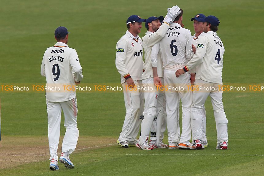 Essex players celebrate after Reece Topley claims the wicket of Murray Goodwin - Glamorgan CCC vs Essex CCC - LV County Championship Division Two Cricket at the Swalec Stadium, Cardiff, Wales - 17/05/13 - MANDATORY CREDIT: Gavin Ellis/TGSPHOTO - Self billing applies where appropriate - 0845 094 6026 - contact@tgsphoto.co.uk - NO UNPAID USE.