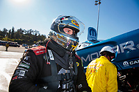 Nov 17, 2019; Pomona, CA, USA; NHRA funny car driver Matt Hagan during the Auto Club Finals at Auto Club Raceway at Pomona. Mandatory Credit: Mark J. Rebilas-USA TODAY Sports
