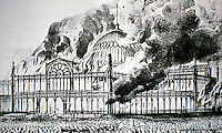 Drawing of the Crystal Palace on fire. In 1936, the Palace burned to the ground. Designed by Joseph Paxton.