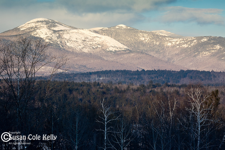 Snow-covered Caribou-Speckled Mountain Wilderness in the White Mountain National Forest, seen from Center Lovell, ME