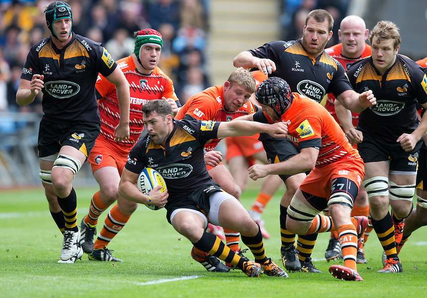 Wasps' Charlie Davies is tackled by Leicester Tigers' Julian Salvi and Tom Youngs<br /> <br /> Photographer Stephen White/CameraSport<br /> <br /> Rugby Union - Aviva Premiership - Wasps v Leicester Tigers - Saturday 9th May 2015 - Ricoh Arena - Coventry<br /> <br /> &copy; CameraSport - 43 Linden Ave. Countesthorpe. Leicester. England. LE8 5PG - Tel: +44 (0) 116 277 4147 - admin@camerasport.com - www.camerasport.com