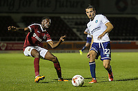 Nick Freeman of Wycombe Wanderers (right) during the The Checkatrade Trophy match between Northampton Town and Wycombe Wanderers at Sixfields Stadium, Northampton, England on 30 August 2016. Photo by David Horn / PRiME Media Images.