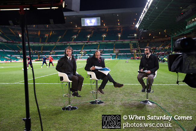 Scotland 1 Republic of Ireland 0, 14/11/2014. Celtic Park, European Championship qualifying. Television pundit Gianfranco Zola being interview beside the pitch before the European Championship qualifying match between Scotland and the Republic of Ireland at Celtic Park, Glasgow. Scotland won the match by one goal to nil, scored by Shaun Maloney 16 minutes from time. The match was watched by 55,000 at Celtic Park, the venue chosen to host the match due to Hampden Park's unavailability following the 2014 Commonwealth Games. Photo by Colin McPherson.