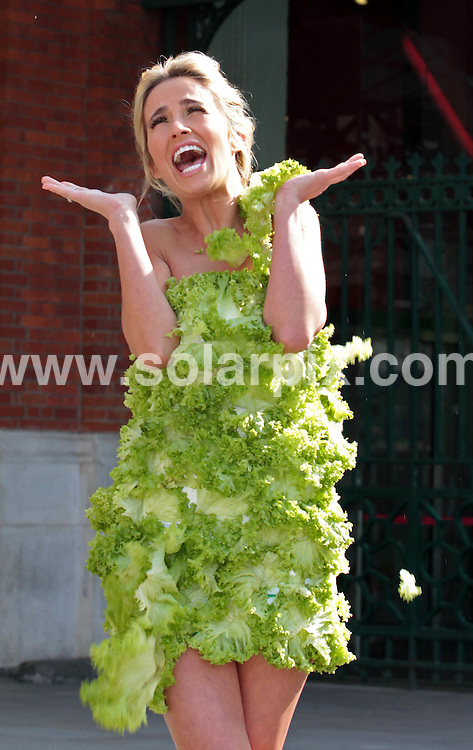 **ALL ROUND PICTURES FROM SOLARPIX.COM**                                             **NO UK NEWSPAPER PUBLICATION**.**UK MAGAZINE & SUPPLEMENT PUBLICATION ONLY** AND NO PUBLICATION IN AUSTRALIA, BELGIUM, FRANCE, GERMANY, ITALY, SCANDINAVIA AND USA**                                                                                  Caption: Former Big Brother contestant Chantelle Houghton posed in a dress made of lettuce leaves in London this morning for the launch of the revamped vegetarian/vegan starter kit by PETA - People for the Ethical Treatment of Animals . London, UK. 23 March 2011                                                                            This pic:                                                                                              Chantelle Houghton JOB REF: 13021        SFE       DATE: 23_03_2011                                                           **MUST CREDIT SOLARPIX.COM OR DOUBLE FEE WILL BE CHARGED**                                                                      **MUST AGREE FEE BEFORE ONLINE USAGE**                               **CALL US ON: +34 952 811 768 or LOW RATE FROM UK 0844 617 7637**