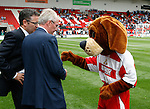 Sven Goran Eriksson meets the Doncaster Rovers dog mascot