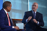 Washington, DC - April 8, 2014: New Orleans Mayor Mitch Landrieu (r) participates in a panel discussion at the Aspen Institute's 'Symposium on The State of Race in America' at the Newseum in the District of Columbia. The panel was moderated by Fox News political analyst Juan Williams. (Photo by Don Baxter/Media Images International)