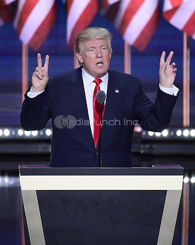Donald J. Trump delivers his acceptance speech as the GOP candidate for President of the United States at the 2016 Republican National Convention held at the Quicken Loans Arena in Cleveland, Ohio on Thursday, July 21, 2016.<br /> Credit: Ron Sachs / CNP/MediaPunch<br /> (RESTRICTION: NO New York or New Jersey Newspapers or newspapers within a 75 mile radius of New York City)