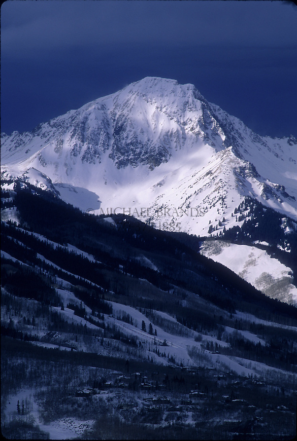 Mount Daly looms over Snowmass ski area. Snowmass, Colorado. © Michael Brands.