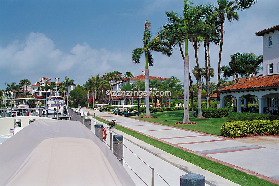 Fisher Island, Miami, Florida, Luxury,  Boats, Docked, Marina,  Yachts, Sailboats, Buildings, Private Condos, Houses, Water, Reflections, Golf Carts, Red Roofs, Spanish, Palm Tree, panorama