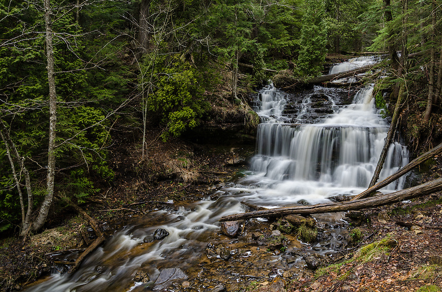 Spring flow at beautiful Wagner Falls in Munising, MI.