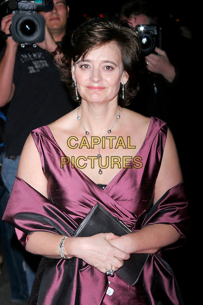 CHERIE BLAIR .The Breast Cancer Care 2008 Fashion Show, London, England..October 1st, 2008 .half length purple aubergine silk satin dress wrap clutch bag silver .CAP/AH.©Adam Houghton/Capital Pictures.