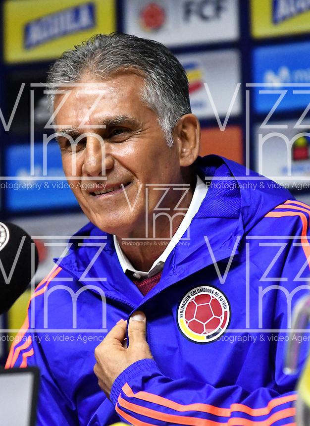 BOGOTÁ-COLOMBIA, 07-02-2019: Carlos Querioz, Portugués de 65 años es el nuevo Director Técnico de La Selección Colombia de fútbol, por los próximos 4 años, y con el reto inmediato de afrontar la Copa América de Brasil y la eliminatoria al Mundial de Catar 2022, durante rueda de prensa y presentación en la Sede Deportiva de la Federación Colombiana de Fútbol en Bogotá. / Carlos Querioz, Portuguese of 65 years is the new Technical Director of the Colombian National Soccer Team, for the next 4 years, and with the immediate challenge of facing the Copa América of Brazil and the eliminatory to the Qatar World Cup 2022, during a press conference and presentation at the Sports Headquarters of the Colombian Football Federation in Bogotá. / Photo: VizzorImage / Luis Ramírez / Staff.