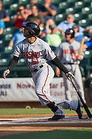 Fresno Grizzlies outfielder Justin Christian #51 at bat during the Pacific Coast League baseball game against the Round Rock Express on May 19, 2012 at The Dell Diamond in Round Rock, Texas. The Grizzlies defeated the Express 10-4. (Andrew Woolley/Four Seam Images)