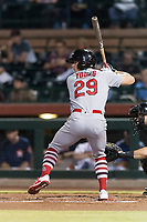 Surprise Saguaros second baseman Andy Young (29), of the St. Louis Cardinals organization, at bat during an Arizona Fall League game against the Scottsdale Scorpions at Scottsdale Stadium on October 15, 2018 in Scottsdale, Arizona. Surprise defeated Scottsdale 2-0. (Zachary Lucy/Four Seam Images)