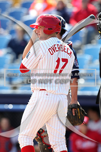 Reading Phillies designated hitter Cody Overbeck #17 at bat during a game against the New Hampshire Fisher Cats at FirstEnergy Stadium on May 5, 2011 in Reading, Pennsylvania.  New Hampshire defeated Reading by the score of 10-5.  Photo By Mike Janes/Four Seam Images